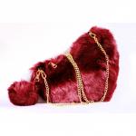 Crossbody Bag - Fluffy Heart Burgundy
