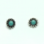 Stud Earring - Silver Turquoise Flower Small