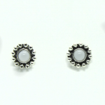 Stud Earring - Silver with White Gem