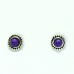 Stud Earring - Silver with Purple Gem