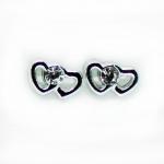 Stud Earring - Silver Side by Side Heart