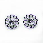 Stud Earring - Silver Round Flower