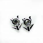Stud Earring - Silver Flower Stem