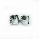 Stud Earring - Silver Heart + Jewel
