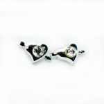 Stud Earring - Silver Heart + Arrow