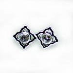 Stud Earring - Silver Square Flower