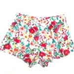 Casual Shorts Red Floral On White